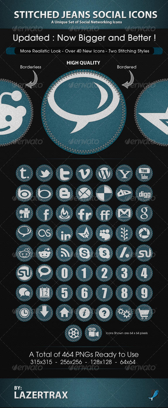 Stitched Jeans Icons by Lazertrax