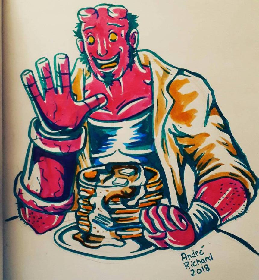 Hellboy and pancakes! by AndrePaploo