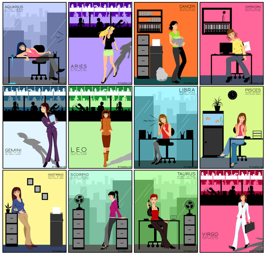 Horoscope Set - Office Theme by mis-ato on DeviantArt