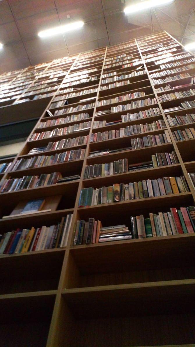 wall of books by brytestar