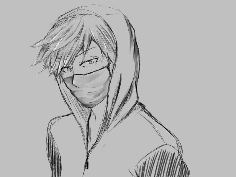 This is a photo of Satisfactory Guy In Hoodie Drawing