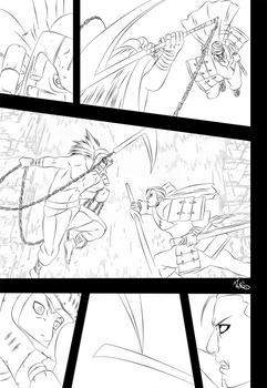 Hanzou vs Samurai - Lineart