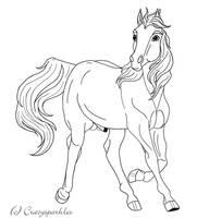 Trotting Stallion Lineart by Crazy-Sparkles
