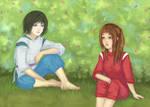 Haku and Chihiro - Spirited Away by SaoriAiko