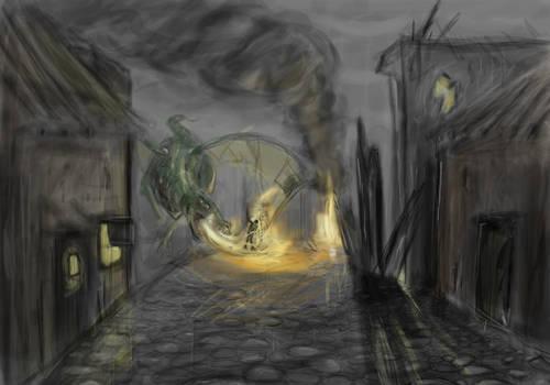 Dragon destroys a village...