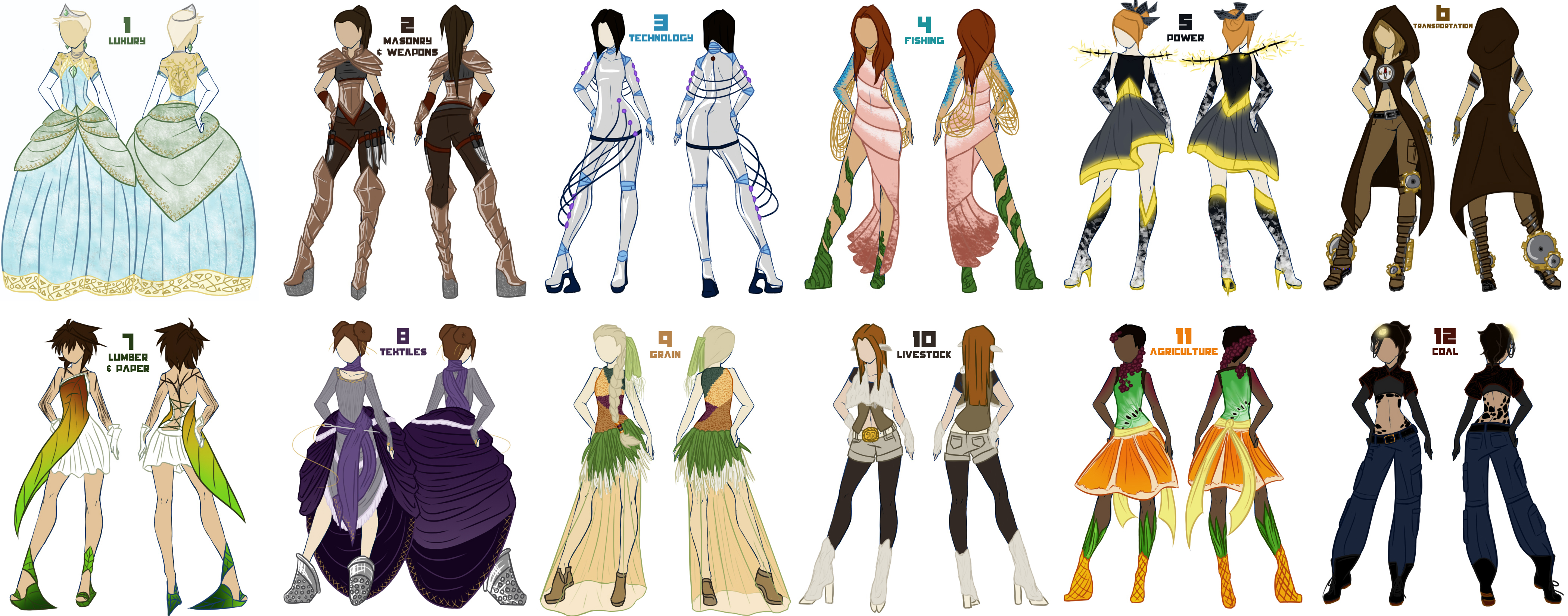 Female Tribute Parade Outfits by evanesce24