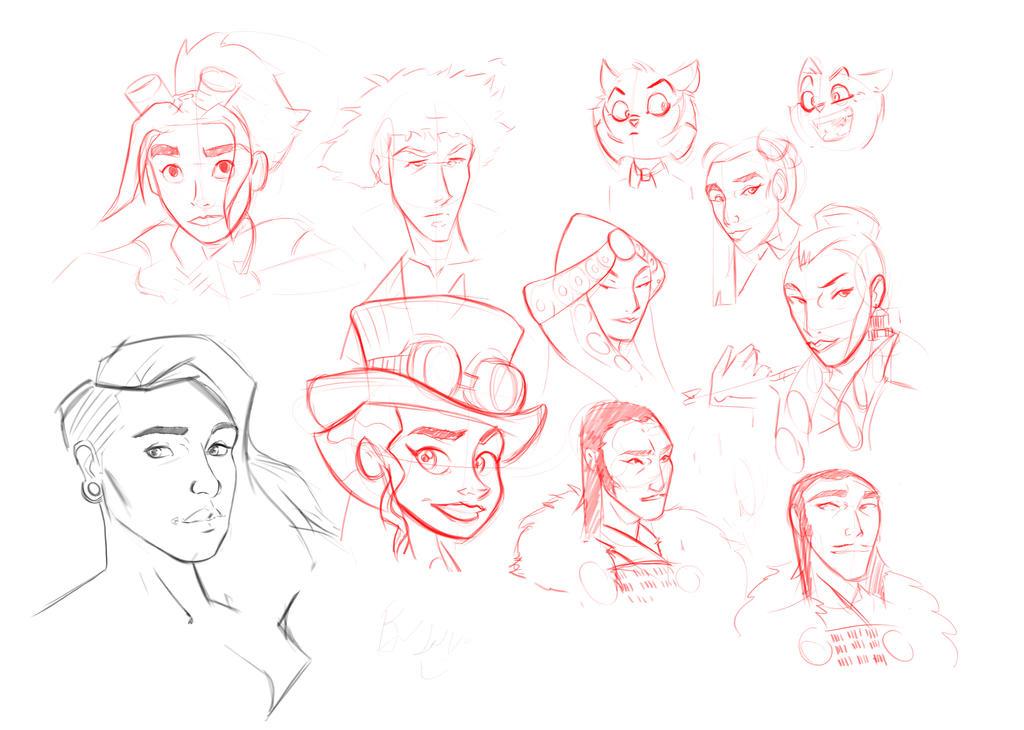 Cartoon style studies by ThinusvanRooyen