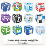 Freebie: 35+ diced social media icons