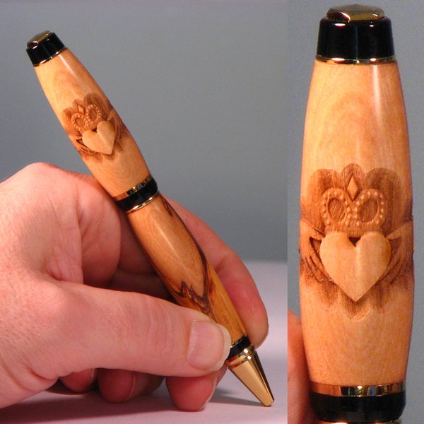 Claddagh Engraved Wooden Pen by woodenpenworks