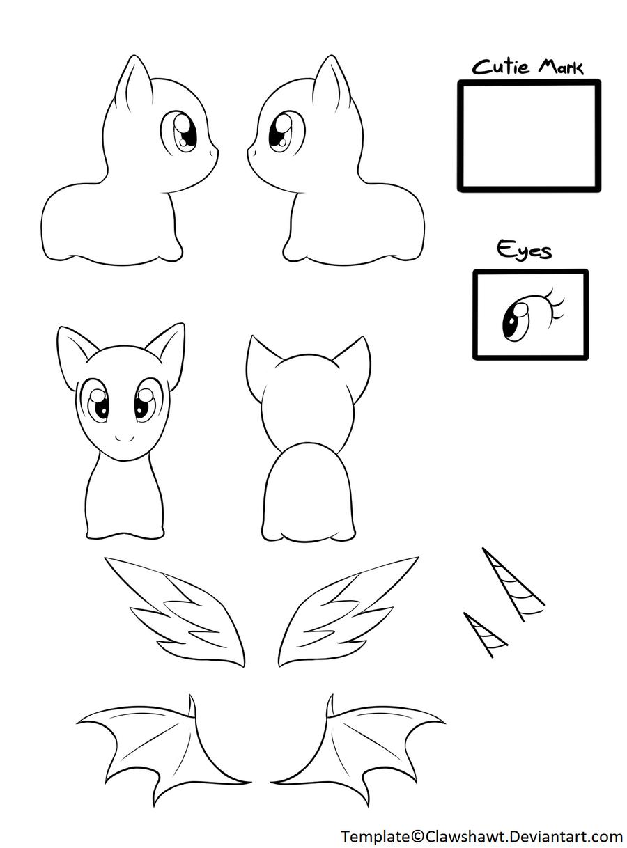 Chibi Pony Template By Clawshawt Chibi Pony Template By Clawshawt