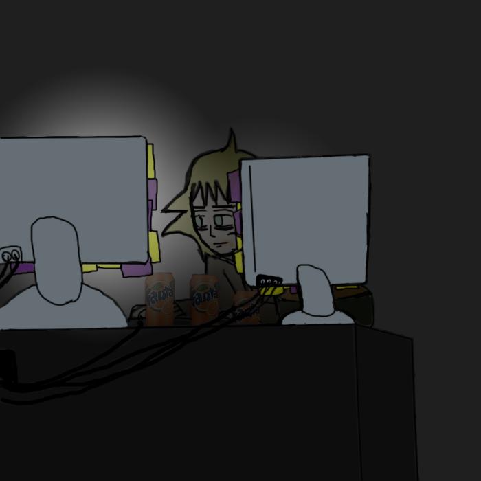 SB: Jim sitting at the computer by DuskNinjaKenji
