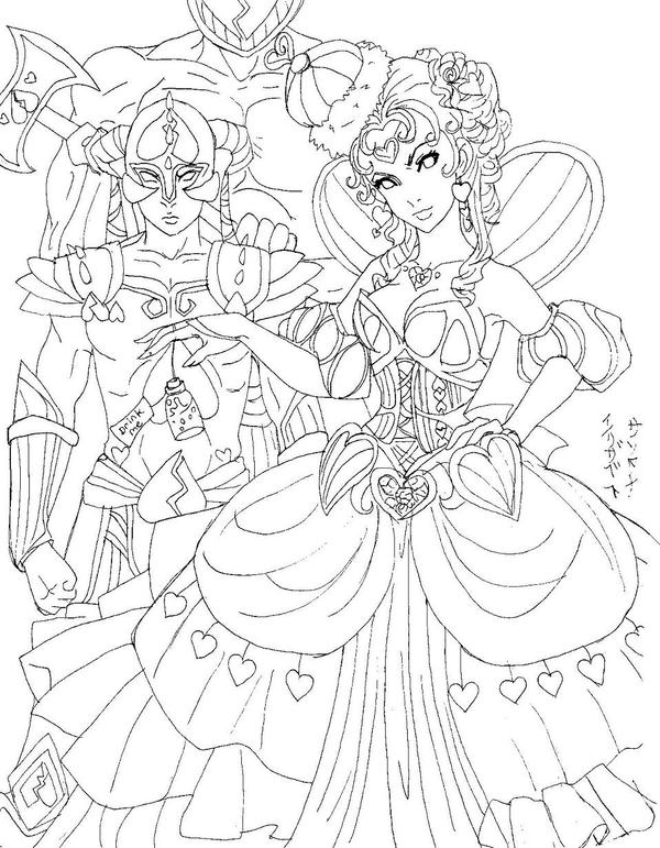 Queen Of Hearts Anime Drawings Sketch Coloring Page