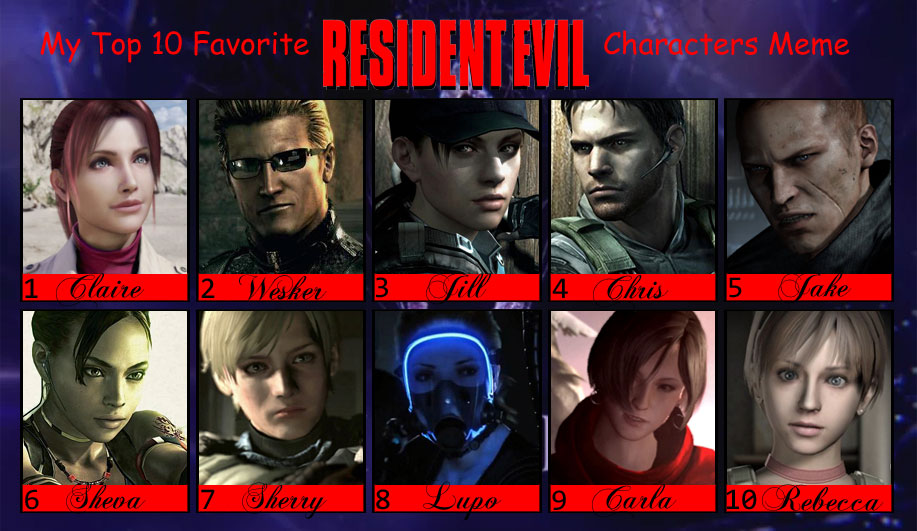 My Top 10 Favorite Resident Evil Characters Meme By Isobel Theroux On Deviantart