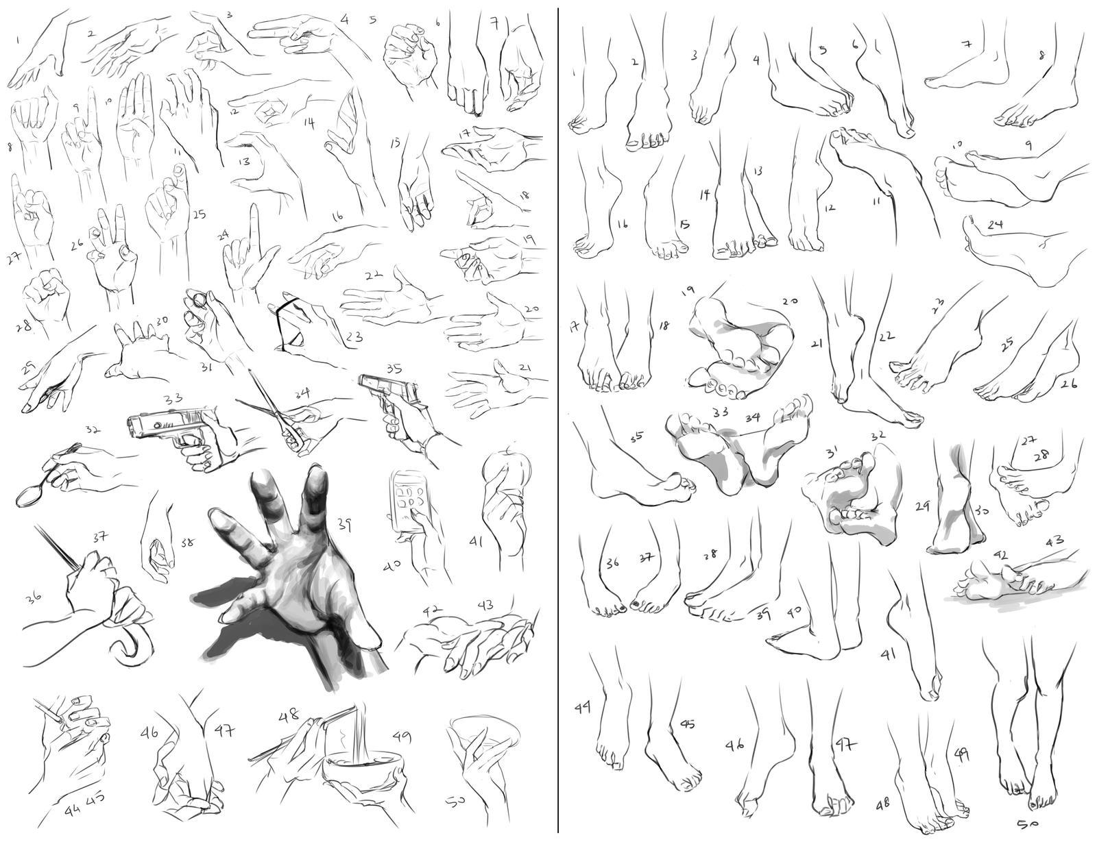 50 Hands and 50 Feet Challenge by kayoru
