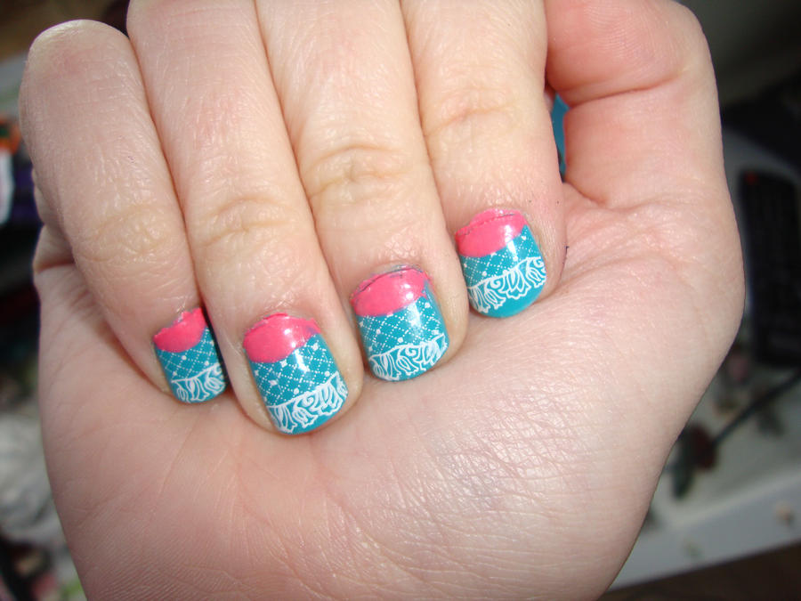 Pink And Blue Nail Design By Dittejochumsen On Deviantart