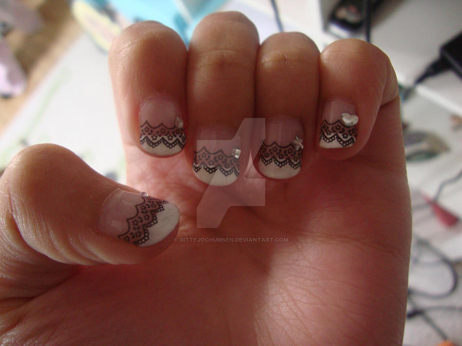 French manicure w black lace and diamonds by dittejochumsen on ...