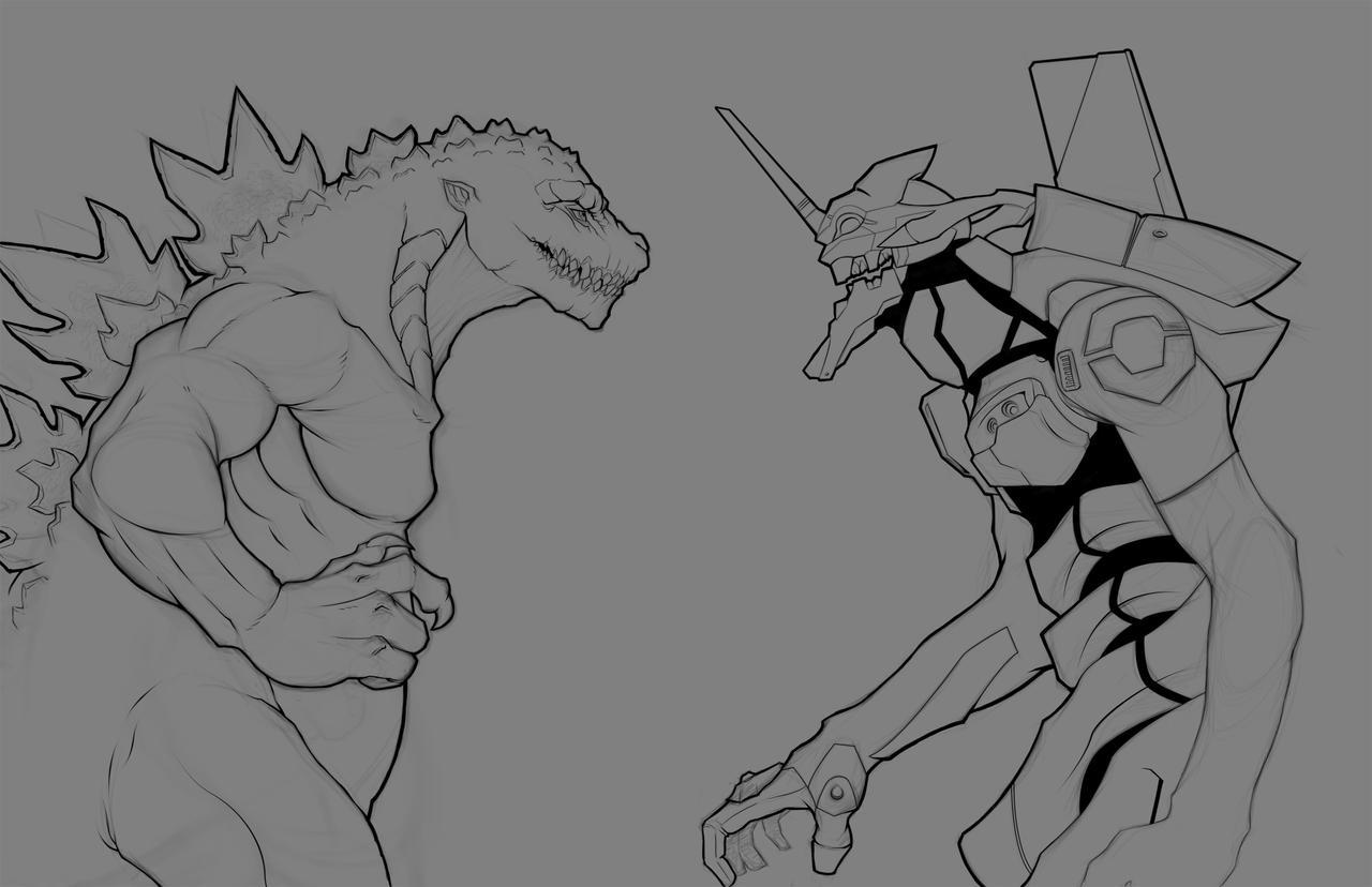 Godzilla vs. Unit 01, lines by Paterack
