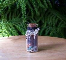 Black Wolf Spirit Totem Altar Bottle by DaybreaksDawn