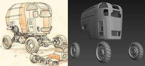 Desert Wheels - 3D WIP by 3DPad