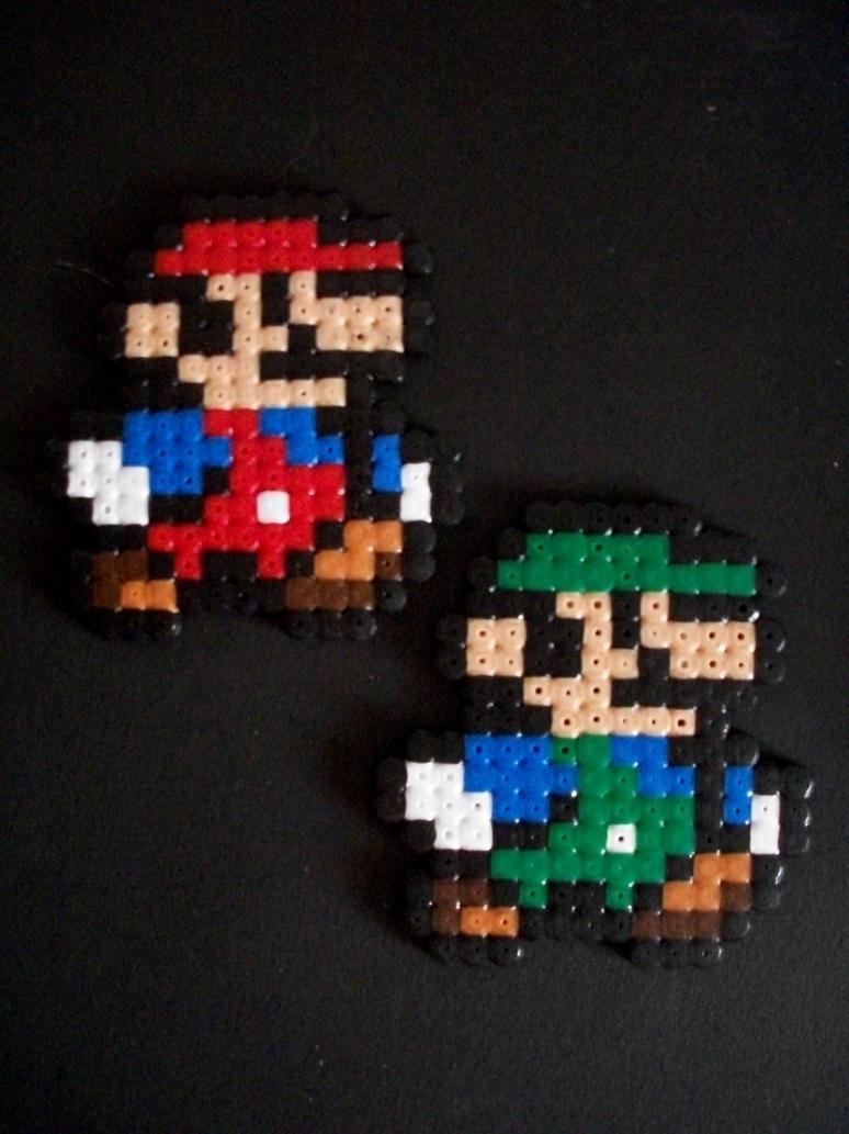 Mario and Luigi 8 bit hama beads art. by Wayat3000 on DeviantArt