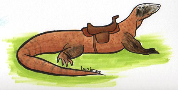 Komodo Dragon has a saddle by gwingangel