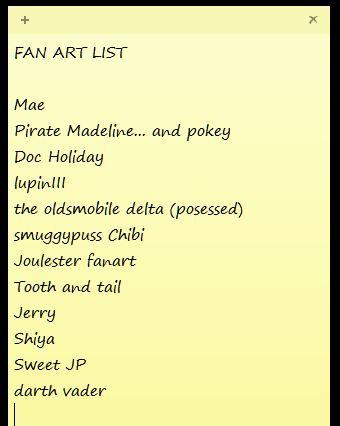 Fanart List by CZProductions