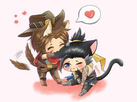 Wolf Mccree and Kitty Hanzo by HakuNeko3Kune