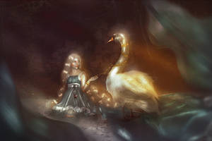 enchanted swan by Silviene