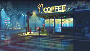 Cyberbunk Coffee Shop Live Wallpaper