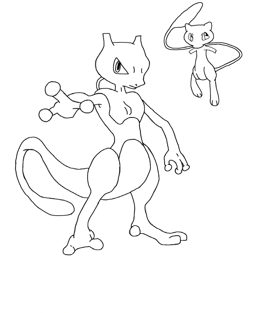 Mew and Mewtwo by Kodakki