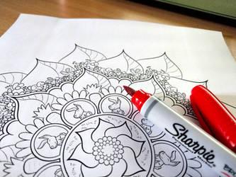 Bunnies Mandala Coloring Page