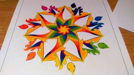 Firecracker Mandala Colored In