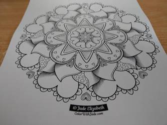 Heartflower Mandala Coloring Page