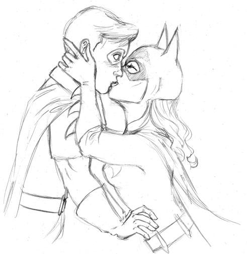 Batgirl and robin kiss drawing - photo#18