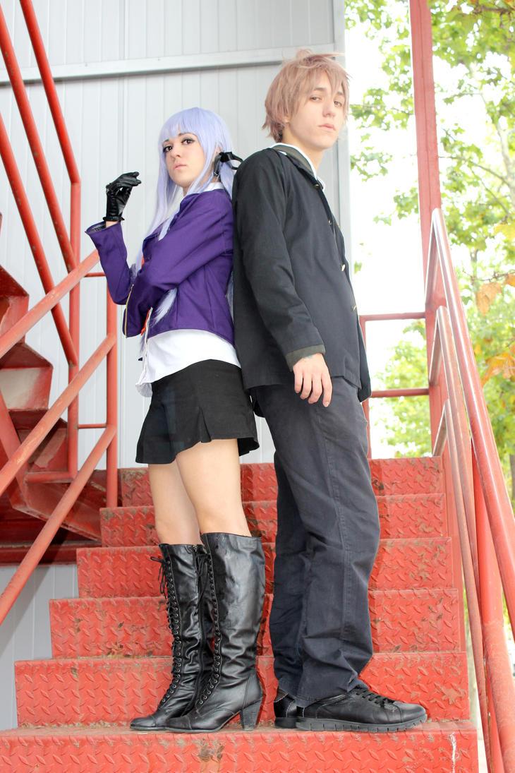 Kirigiri and Naegi cosplay by BeItUkI