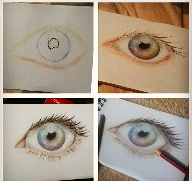 Testing new pens - Rainbow Eye by JacqueMatt