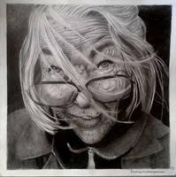 Old woman portrait by Llythium-art