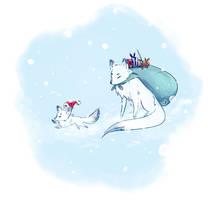 Secret Santa 2017 - Christmas Fox by Llythium-art