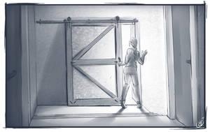[COMMISSION SKETCH] The sliding door