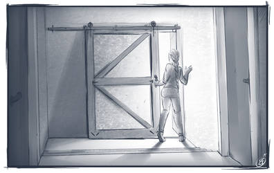 [COMMISSION SKETCH] The sliding door
