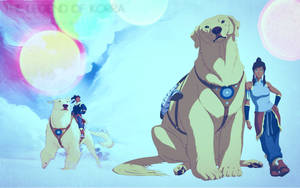 Avatar Korra with polar bear dog wallpaper by Viciousdope