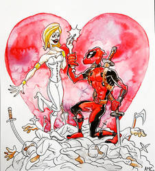 Deadpool White Queen Commission by alexmclark