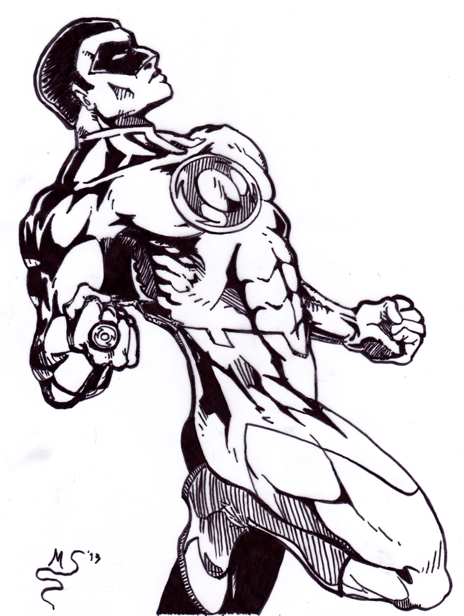 john stewart the green lantern inks by blackn yellow on deviantart