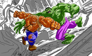 Unfinished Hulk vs.Thing rough by RickMorales