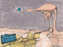 Beige Dino Blue Sun by coltonphillips