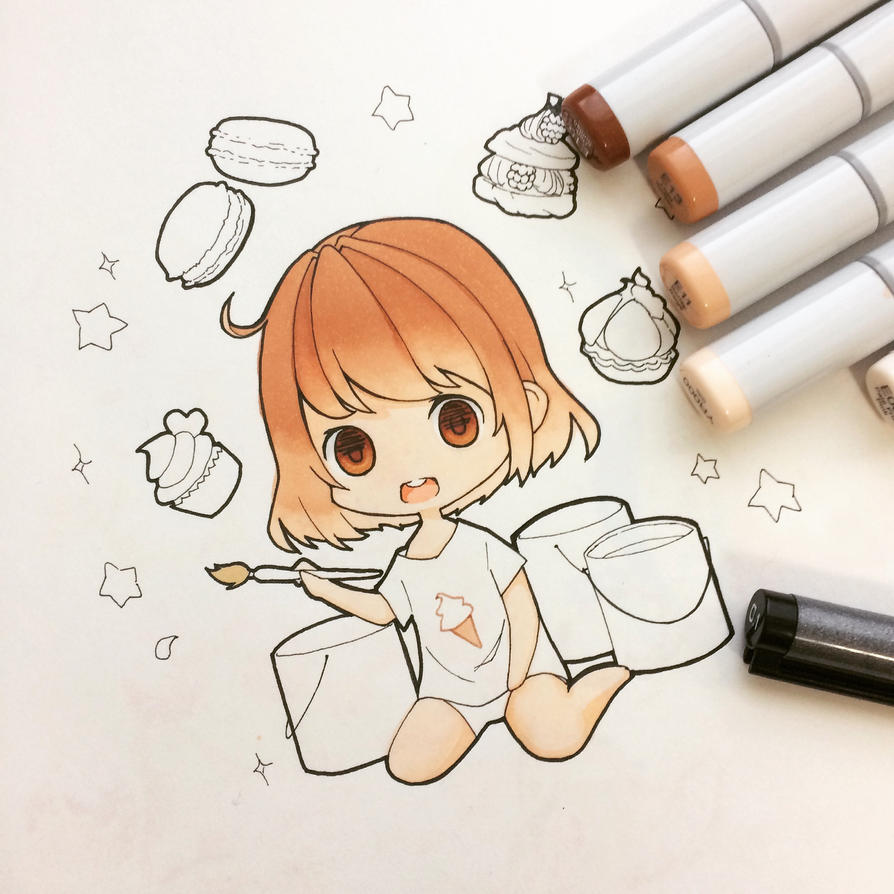 [WIP] Cream-chan paints desserts by creamsherry
