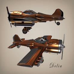 Delia the Dieselpunk airplane.. 3D Concept by WilhelmE