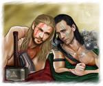Loki and Thor - Like gladiators