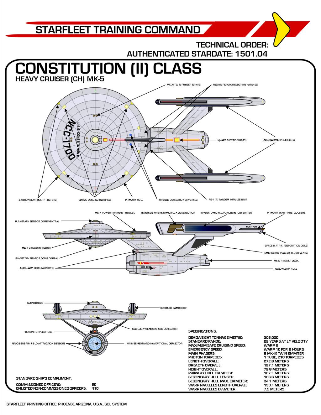 Star Trek Phase II Constitution (II) Class by viperaviator