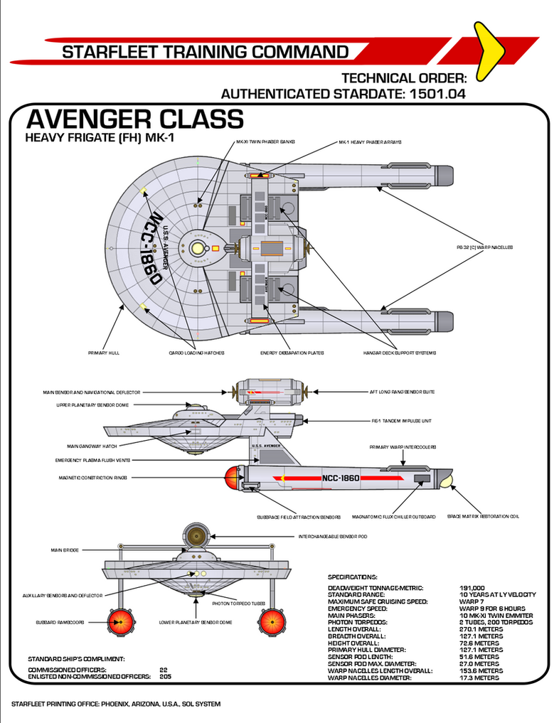 Star Trek TOS Avenger Class Heavy Frigate by viperaviator